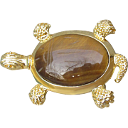 Gold Tone Tiger Eye Scarab TURTLE Vintage Pin or Pendant
