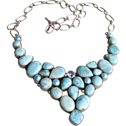 Exquisite Larimar, Blue Cultured Pearl & Tanzanite Vintage Sterling Silver Bib Necklace