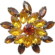 Unsigned WEISS Light & Dark Amber Rhinestone Large FLOWER Pin
