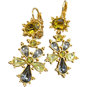 Joan Rivers 1990's Vintage Gold Tone Citrine Rhinestone Russian Cross Lever Back Dangle Earrings