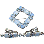 Unsigned WEISS Blue Opal Glass with Rhinestone Square Vintage Pin & Earrings Set