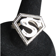 Vintage Unisex Sterling Silver SUPERMAN Ring, Size 8