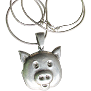 Cute Sterling Silver Vintage PIG HEAD Locket Pendant