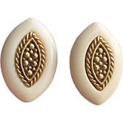 Signed NAPIER Big Ivory Lucite Gold Tone Vintage Clip Earrings