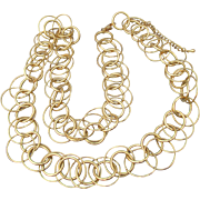 Large Signed Joan Rivers LONG Wide RING Chain Gold Tone Necklace