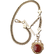 Antique Victorian Gold Filled H.F.H. & Co Watch Chain with Carnelian & Onyx Fob
