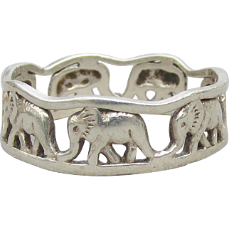 Cut Work ELEPHANT Vintage Sterling Silver Band Ring, Size 11