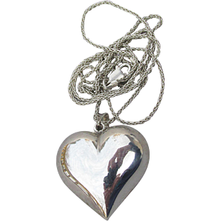 LONG Sterling Silver Vintage Puffy Heart Necklace