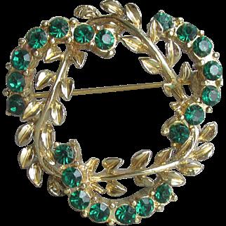 Signed CORO Vintage Emerald Green Rhinestone Laurel Wreath Pin
