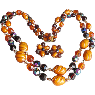 West Germany Marked Amber LUCITE Bead Vintage Double Strand Necklace & Earrings Set