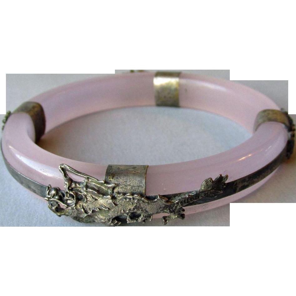 DRASTIC REDUCTION Vintage Bangle Bracelet Faux Lavender Jade with 800 Silver DRAGONS