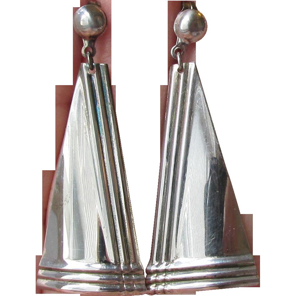 70 39 s deco revival modern sterling silver vintage dangle earrings sold on ruby lane. Black Bedroom Furniture Sets. Home Design Ideas