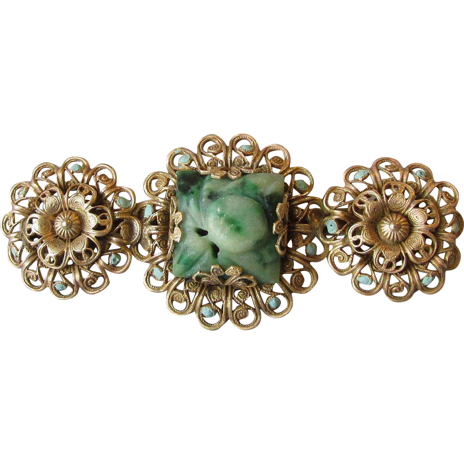1920's Vintage Flower Carved Jade Jadeite & Enamel Filigree Pin