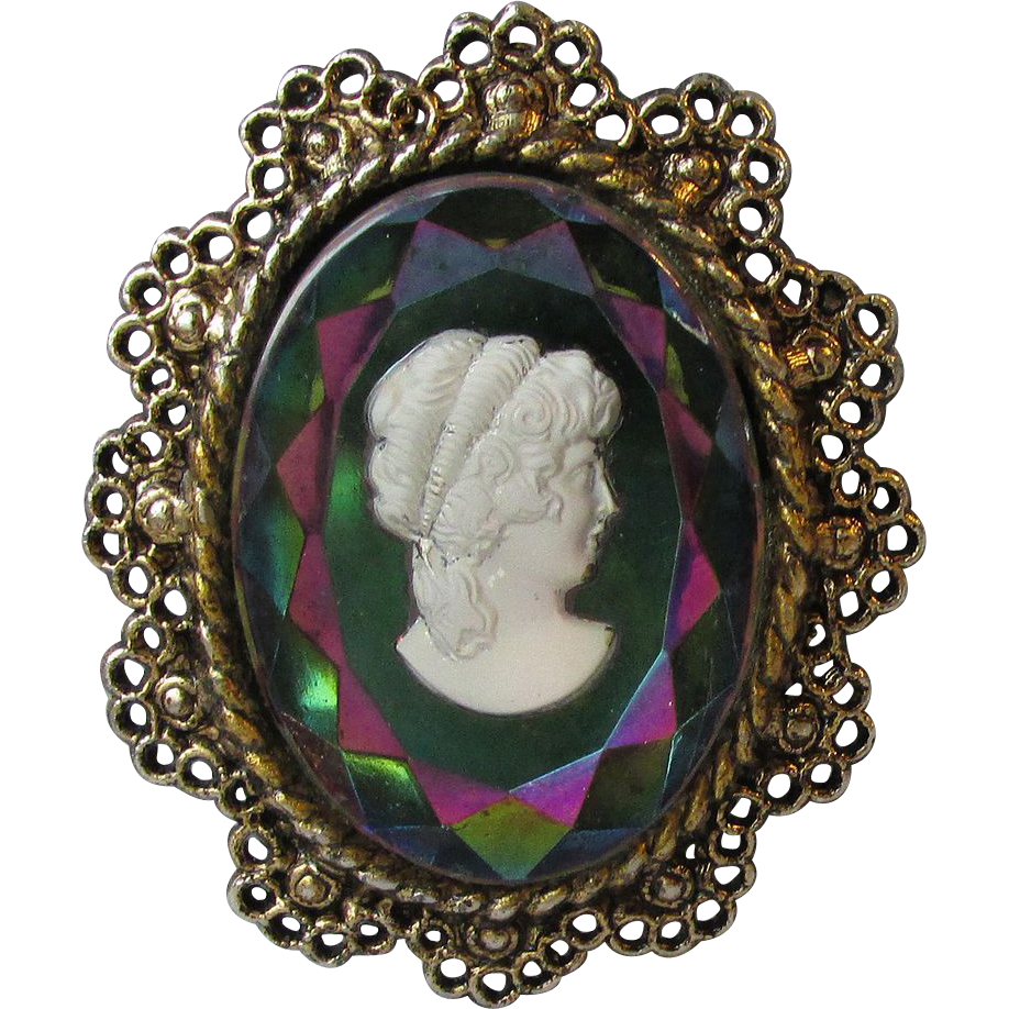 DRASTIC REDUCTION Iridescent Intaglio Glass Big Vintage Cameo Pin Pendant