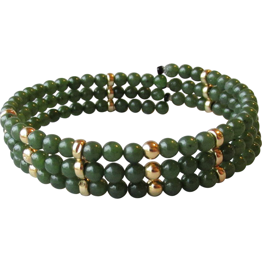 DRASTIC REDUCTION Jade Bead Vintage Three Row Memory Wire Bracelet