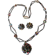 Double Strand Vintage Swarovski Vitrail Crystal PINE Cone Pendant Necklace & Earrings Set