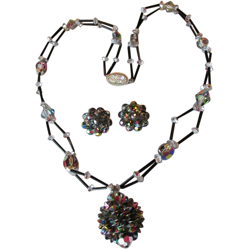 DRASTIC REDUCTION 2-Strand Vintage Swarovski Vitrail Crystal PINE Cone Pendant Necklace & Earrings Set