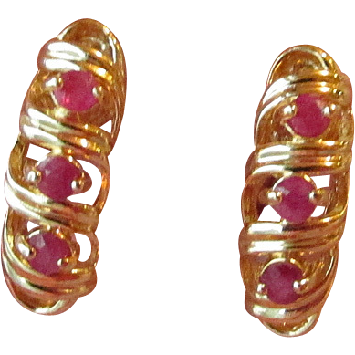DRASTIC REDUCTION Vintage Gold Plated Sterling Silver Vermeil & Genuine Ruby Shrimp Pierced Earrings