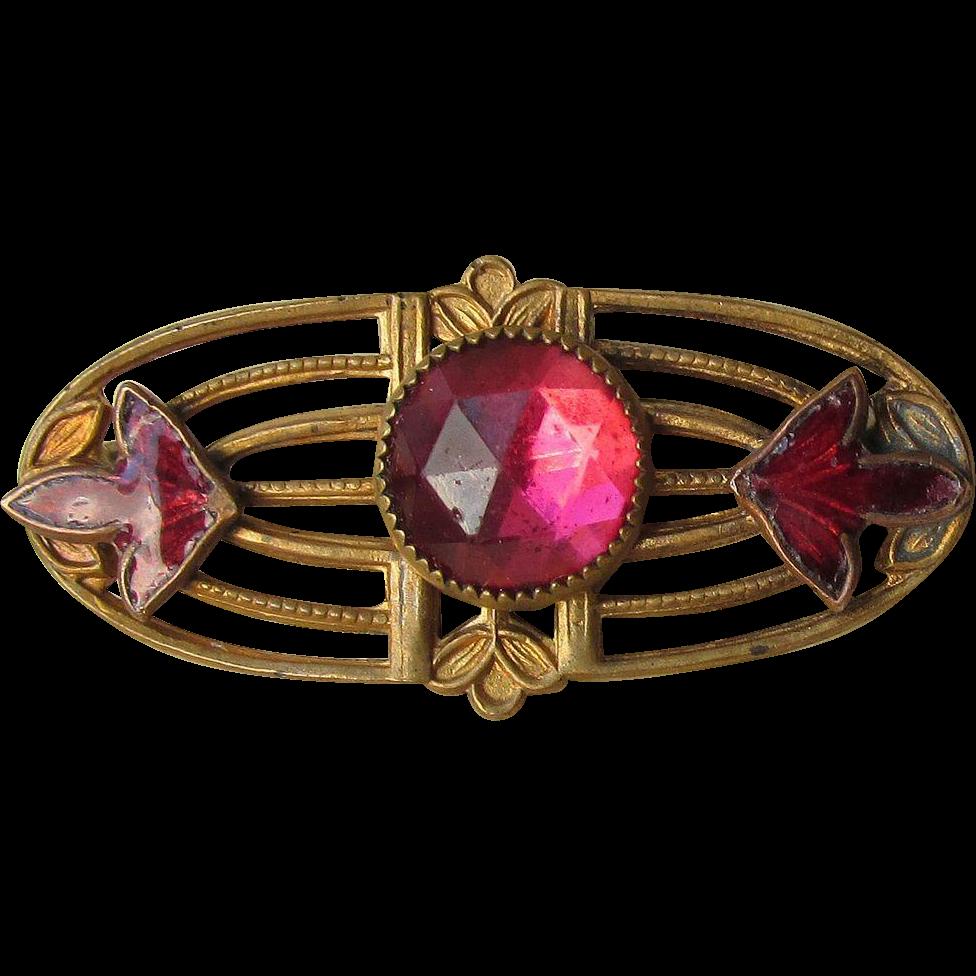 Antique Victorian Edwardian Art Nouveau Pink Rhinestone & Enamel Pin in Original Box