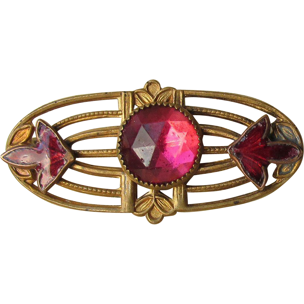 DRASTIC REDUCTION Vintage Edwardian Art Nouveau Pink Paste Enamel Pin in Original Box