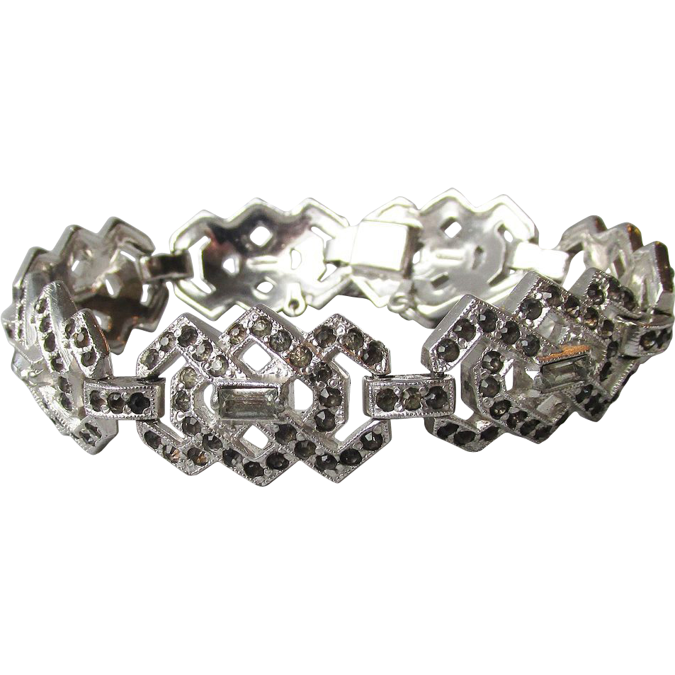 DRASTIC REDUCTION Vintage Art Deco Silver Tone Rhodium & Black Rhinestone Bracelet