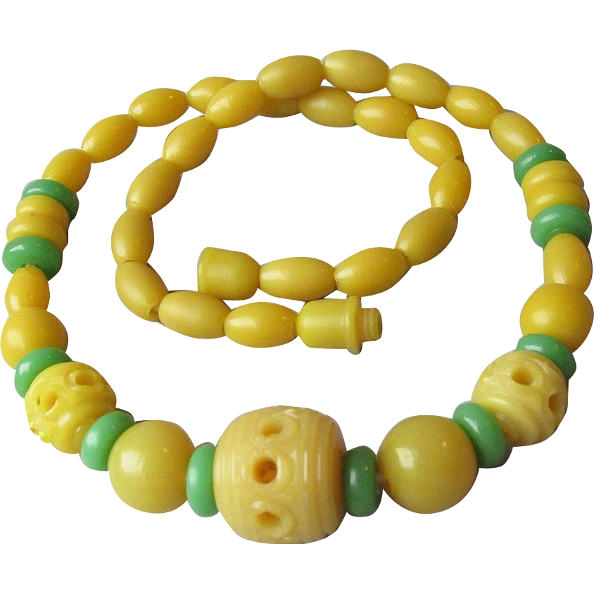 DRASTIC REDUCTION Vintage 1930's Art Deco Genuine Bakelite Carved-Through Bead Necklace