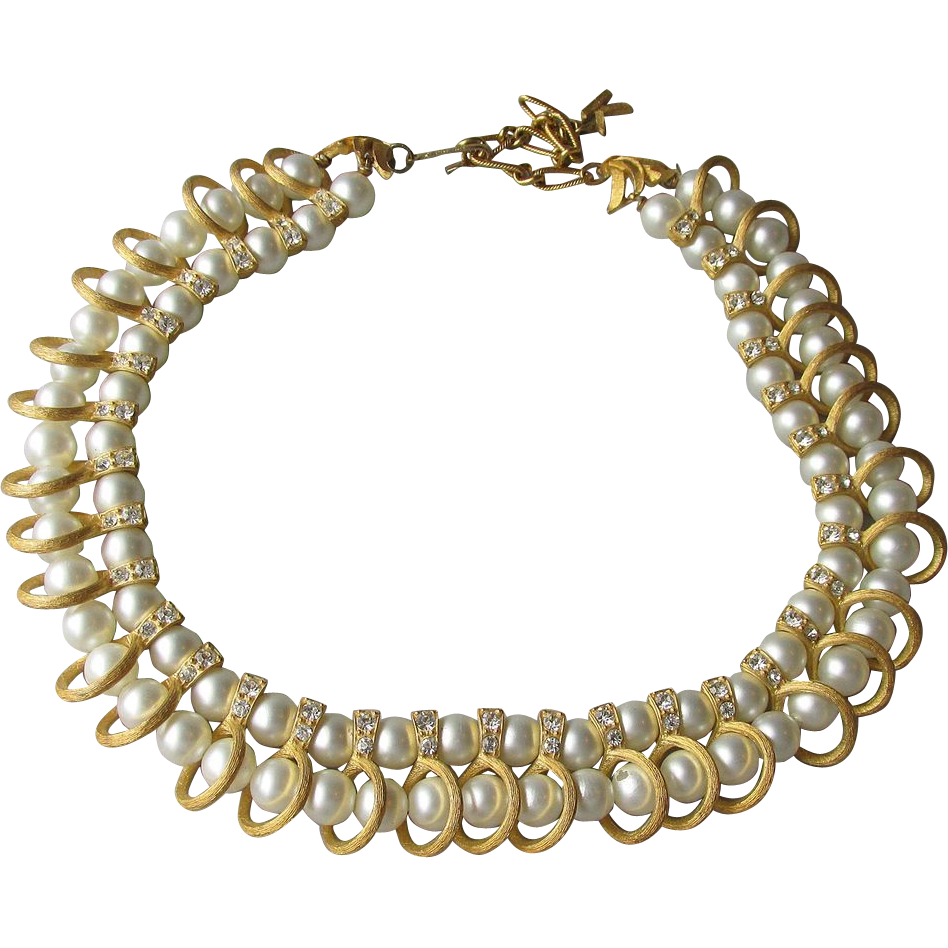 DRASTIC REDUCTION Pretty Kramer Faux Pearl & Rhinestone Vintage Collar Necklace
