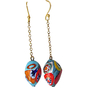 Vintage 1930's Art Glass Bead Millefiori Venetian Dangle Pierced Earrings