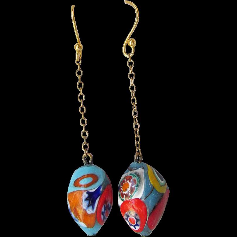 "My Secret Garden Artisan Glass Bead ""Millefiori Venetian"" Earrings"