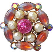 DRASTIC REDUCTION Gorgeous Pink Givre Rhinestone, Faux Baroque Pearl Pin, 1960's Vintage Brooch