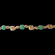 DRASTIC REDUCTION Vintage Candida Gold-Filled Chrysoprase Bracelet, Mint In Box