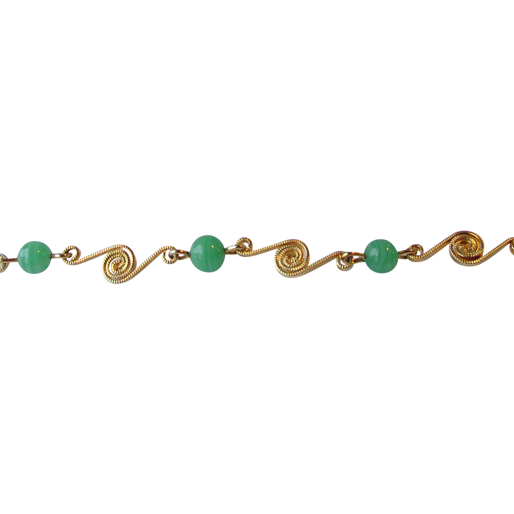 DRASTIC REDUCTION Vintage Candida Gold-Filled Chrysoprase Bracelet, Mint In Box
