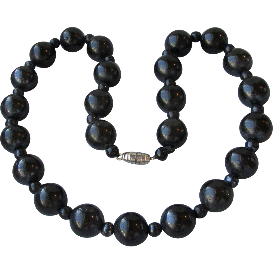 DRASTIC REDUCTION Vintage 1930's Art Deco Big Black Onyx Beaded Choker Necklace