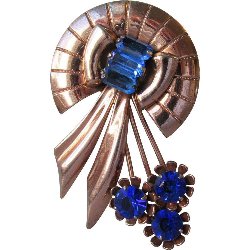 Big 1940's Art Deco Rose Gold Filled Sterling Silver Vermeil & Sapphire Blue Rhinestone Pin