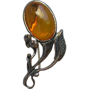 Vintage Baltic Amber Sterling Silver Modernist Flower Pin