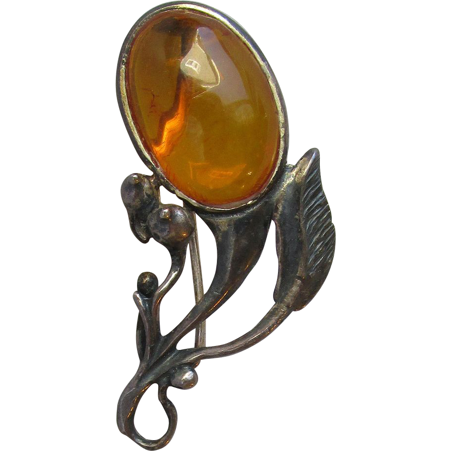 Vintage Genuine Baltic Amber Sterling Silver Retro Flower Pin
