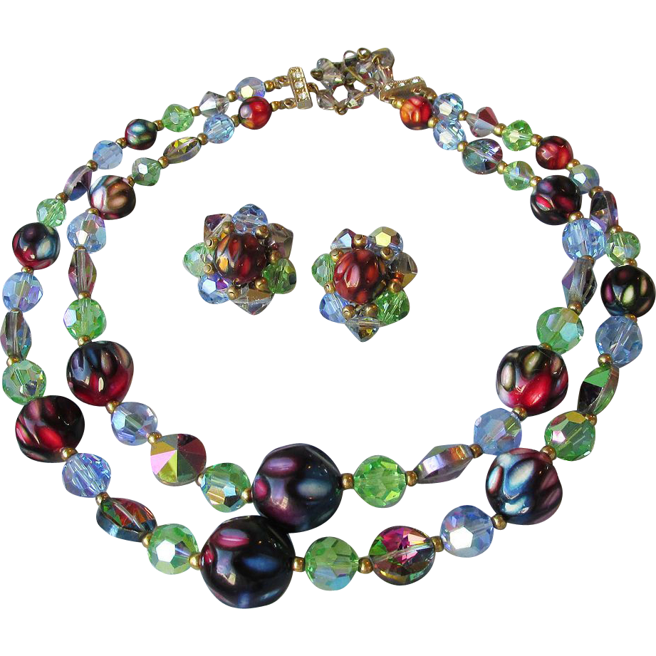 Exceptional Two-Strand Watermelon Rivoli Swarovski Crystal & Dimple Glass Bead necklace & Earrings Vintage Set