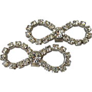 DRASTIC REDUCTION Pair of Vintage Bow Shaped Rhinestone Shoe Clips