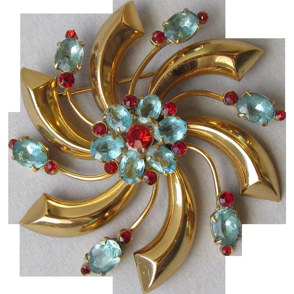 Vintage CORO 1940's Katz Big Floral Rhinestone Pin