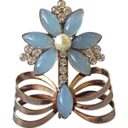 Vintage 1940's Blue Moon Glow Rhinestone Flower in Bow Pot Pin