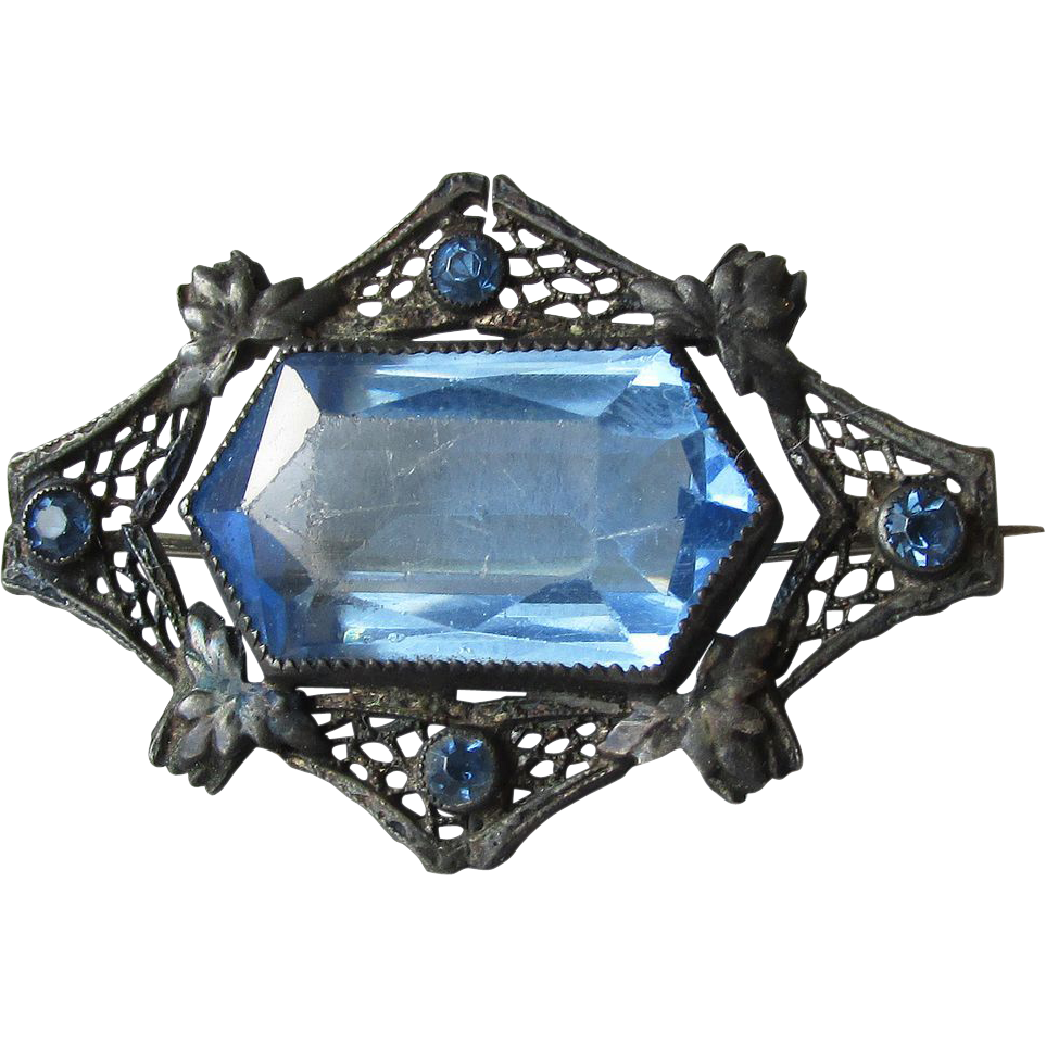 1920's Vintage Art Deco Black Filigree & Blue Paste Glass Pin