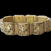 Vintage 1920's Czech Repousse Brass FLORAL LInk Bracelet