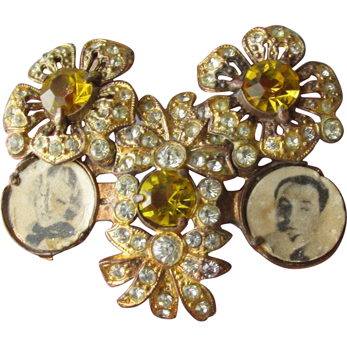 RARE Retro 1940's Amber Rhinestone Double Photo Locket Brooch, Vintage Pin with Original Stock Pictures!