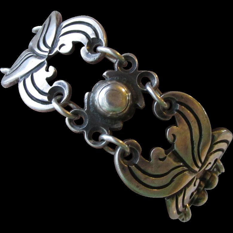 "SALE 1950's Vintage Taxco Mexico Signed Serafin Moctezuma 980 Sterling Silver Heavy Link Bracelet, Large 7 3/4"""