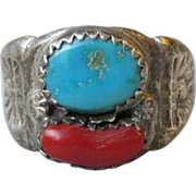 Vintage Native American Navajo Sterling Silver Turquoise & Red Coral Ring, Size 10