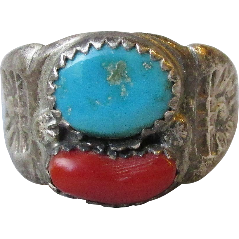 Vintage Early Native American Sterling Silver Turquoise & Red Coral Unisex Ring, Size 10