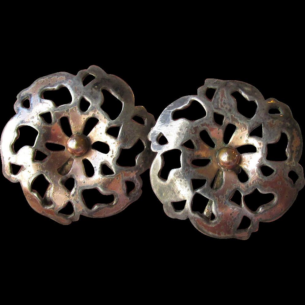 1950's Vintage Sterling Silver Cut Work Button Earrings