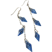 Upcycled Vintage 1920's Art Deco Flapper Sterling Silver Blue Crystal Long Dangle Pierced Earrings