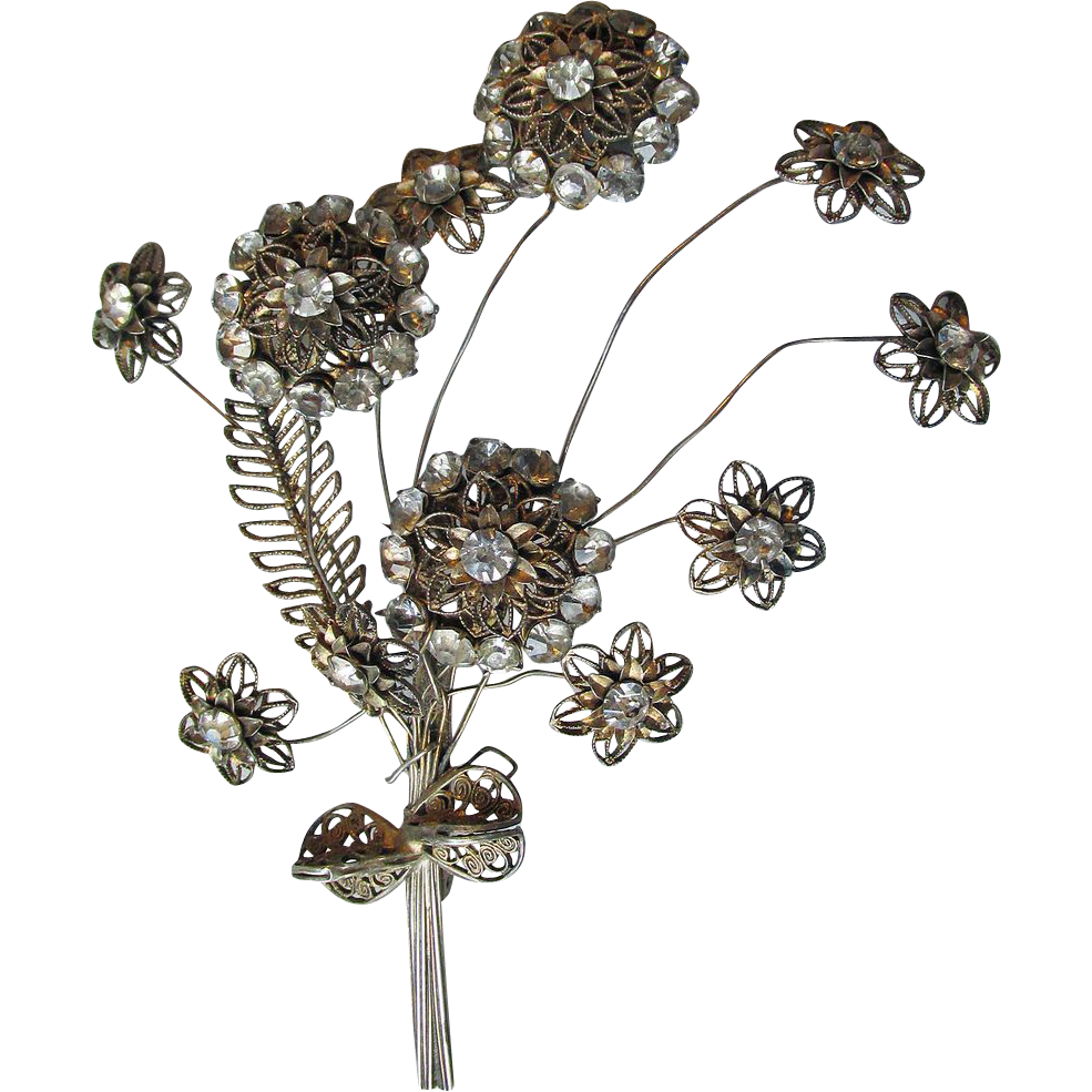 Vintage WW2 Sterling Silver Filigree & Rhinestone Flower Bouquet Pin