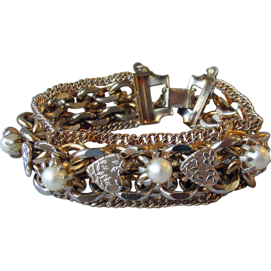 FABulous 1950's Vintage Chunky Heavy Chain Hearts & Pearls Bracelet